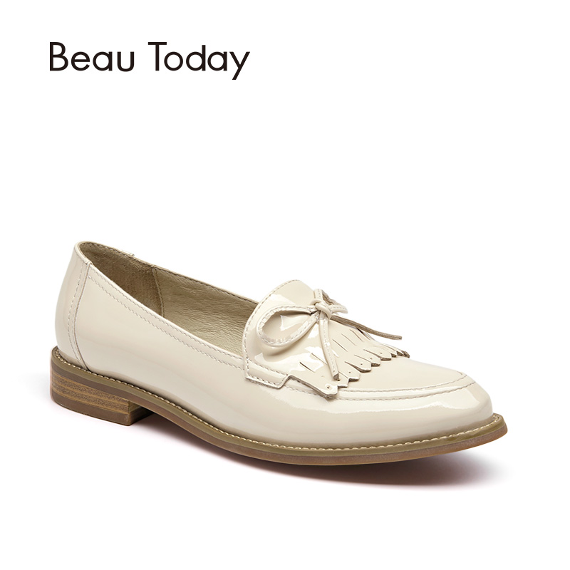 BeauToday Patent Leather Shoes Women Slip On Loafers Genuine Leather Pointed Toe Tassel Bowknot Top Brand Ladies Flats 27042 beautoday genuine leather crystal loafer shoes women round toe slip on casual shoes sheepskin leather flats 27038