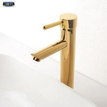 Faucet Brass Bathroom Basin Water-Mixer Black Short Deck-Mount Tall Chrome Hot