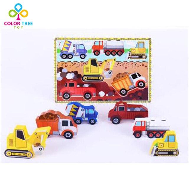Дети 3D Деревянные Головоломки Детские Многоцветный Животных Автомобиль Головоломки Развивать Интеллект Рано Развивающие Игрушки Подарки Для Детей