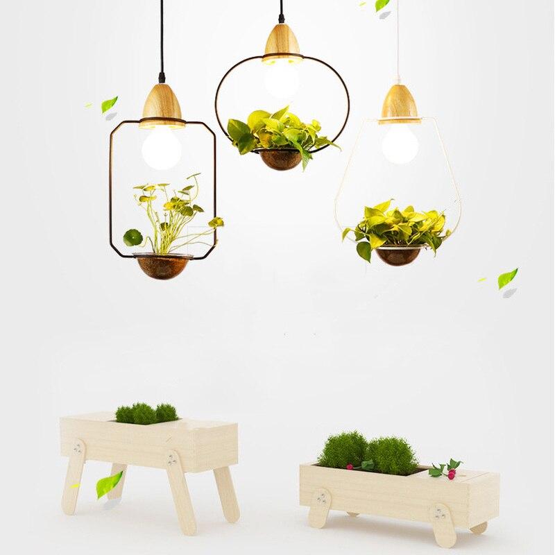 Modern Decor American Plant Pot Pendant Lights Restaurant Dinning Room Pendant Light Black White Color Wood With Glass Lamps