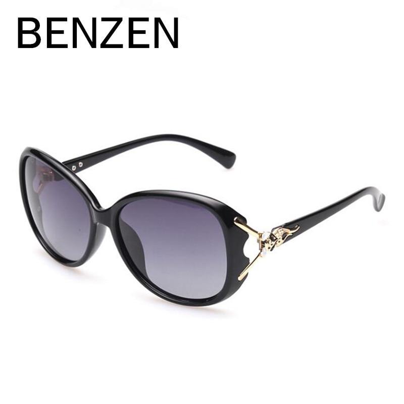 БЕНЗЕН Поляризовані жіночі сонцезахисні окуляри Старовинні жіночі сонцезахисні окуляри Ретро УФ жіночі відтінки водіння окуляри чорні з кейсом 6271