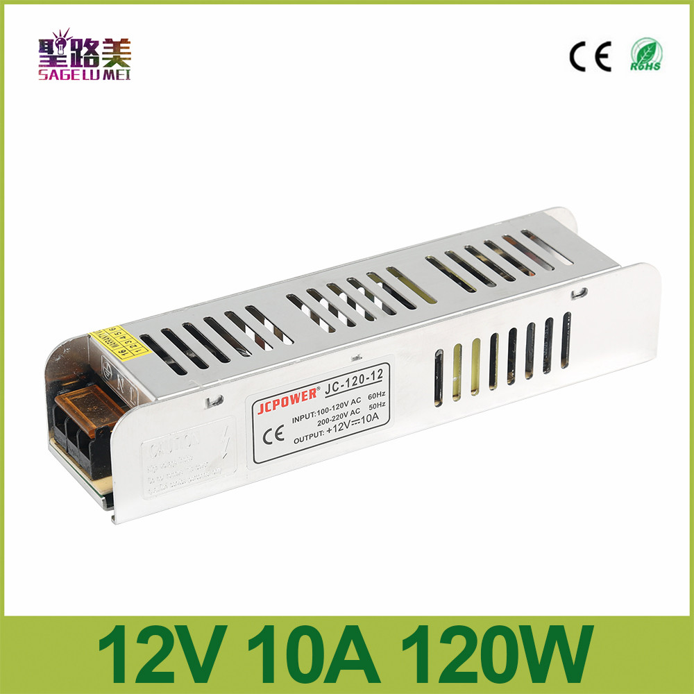 DC <font><b>12V</b></font> 10A 120W Slim <font><b>Power</b></font> <font><b>Supply</b></font> <font><b>power</b></font> source AC to DC Adapter Switch Lightbox Driver for auto LED Strip Light <font><b>module</b></font> 110V/<font><b>220V</b></font> image