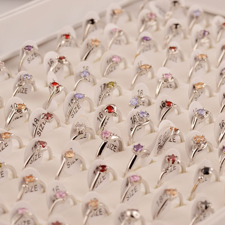 MYDANER Women Wholesale 50Pcs lot Mixed Color Imitation Zircon Rings Women Crystal Rhinestone Wedding Rings Fashion