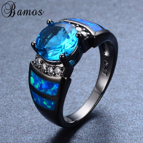 Bamos Unique Blue Fire Opal Rings For Women Men Black Gold Filled Wedding Party Light Blue Zircon Ring Best Friend Gift RB0272 Karachi
