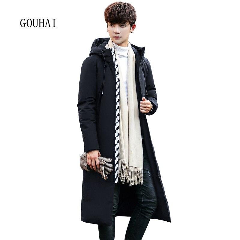 Hooded Winter Jacket Men Down Jacket Warm Solid X-Long Coat Man Feather Jacket Men 2017 Fashion Black Plus Size M-XXXL