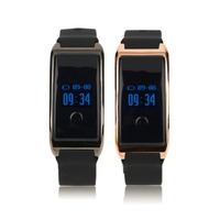 MD8 0 66 Inch OLED Display Waterproof IP68 Silicone Smart Bracelet Silicone Heart Rate Monitoring Smart