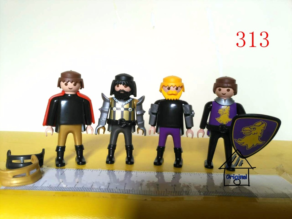 1 set playmobil toy of pretend toy 4 warrior soldier fighter team Action Figures mini figure child toys gift