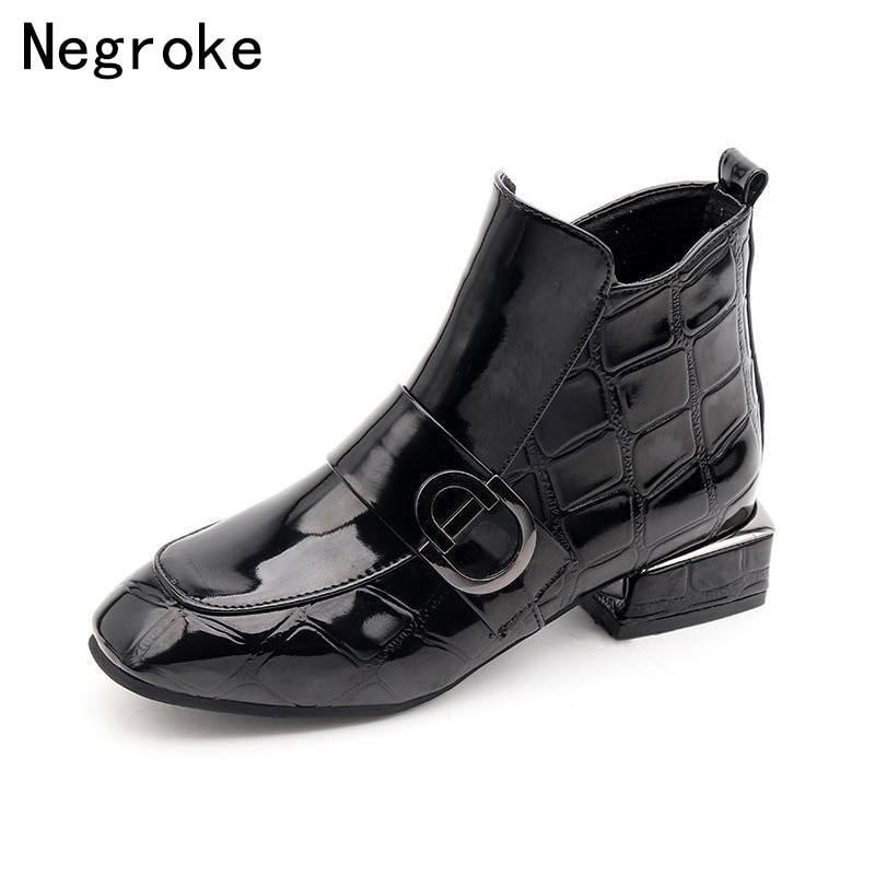 купить 2018 Designer Zapatos Mujer Winter Boots Women Low Heel Shoes Woman Shiny PU Leather Botines Femme Ankle Boots Botas Femininas по цене 906.41 рублей