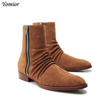 цены Yomior Autumn Winter New Cow Leather Men Ankle Boots Luxury British Vintage Fashion Chelsea Boots Pointed Toe Gentleman Boots
