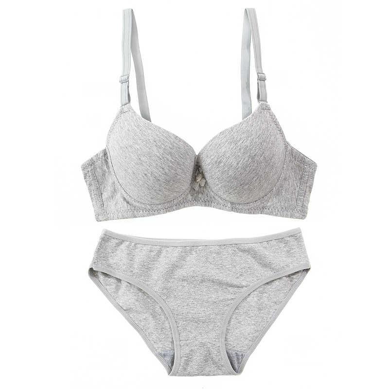 216ee099e7fe TERMEZY Cotton Comfortable Bra & Brief Sets young girl underwear thin push  up bra set women's