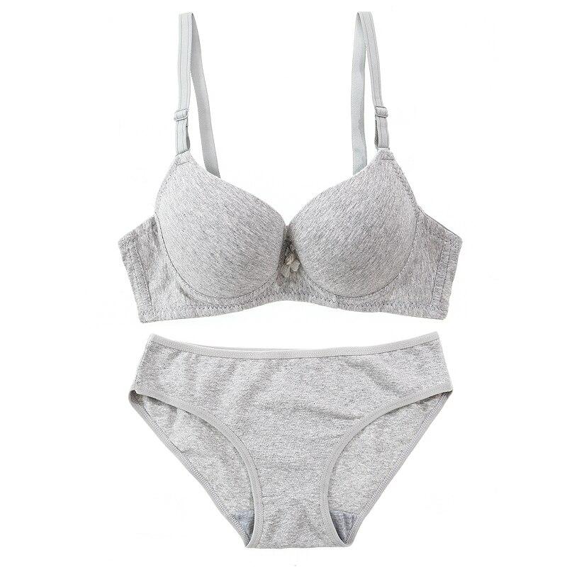 TERMEZY Cotton Comfortable Bra & Brief Sets young girl underwear thin push up bra set women's single-bra drop shipping