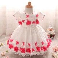 Модные наряды для младенцев для свадьбы и праздника Red Hot розового и фиолетового цветов цветок первый день рождения принцессы Детские вечер...