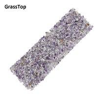 GrassTop 2017 New Rhinestone Purple Gravel Hotfix Rhinestones Adhesive Sticker For Craft DIY Stone Sheet Bling