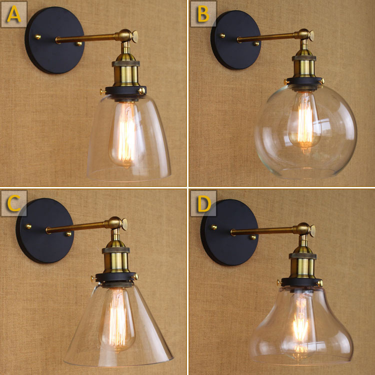 Free Shipping Loft Vintage Industrial Edison Wall Lamps Clear Glass Lampshade Antique Copper Wall Lights 110v 220v For Bedroom