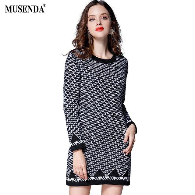 US $12.5  MUSENDA Plus Size Women Black White Plaid Elastic Slim Tunic  Short Sweater Dress 2017 Autumn Female Office Lady Dresses Clothing-in  Dresses ...