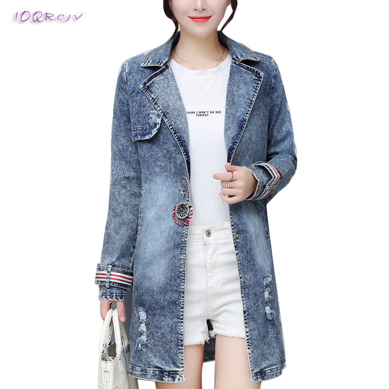 2018 new fashion trench coat female print denim trench coat for women Medium length Slim Windbreaker women elegant IOQRCJV T79