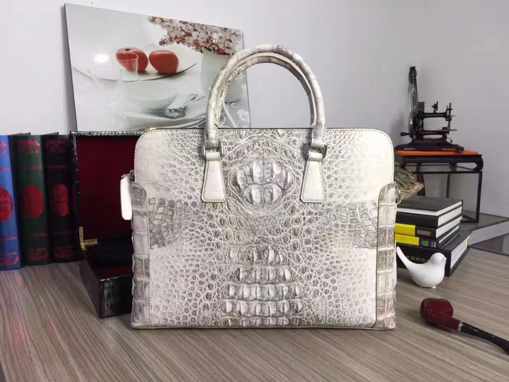 100% Genuine Crocodile Leather Men Business Laptop Bag Himalaya White , 2017 Men Crocodile Belly Skin Men Briefcase Bag