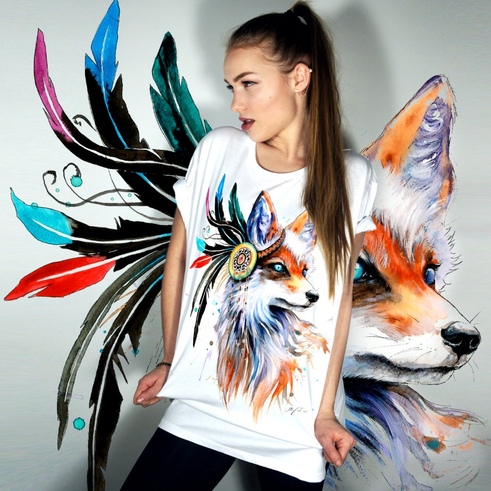 Harajuku Verano 2017 Camiseta Mujer Tops Manga Corta Animal Fox Imprimir Casual