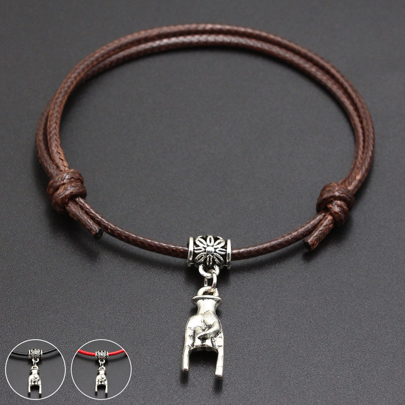 2020 New Rock Sign Pendant Red Thread String Bracelet Lucky Black Coffee Handmade Rope Bracelet for Women Men Jewelry