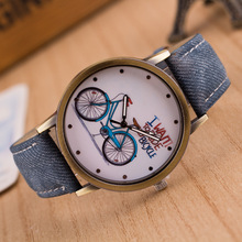 New Fashion Brand Quartz Watches Bicycle Pattern Cartoon Watch Women Casual Vintage Leather Girls Kids Wristwatches gifts reloj
