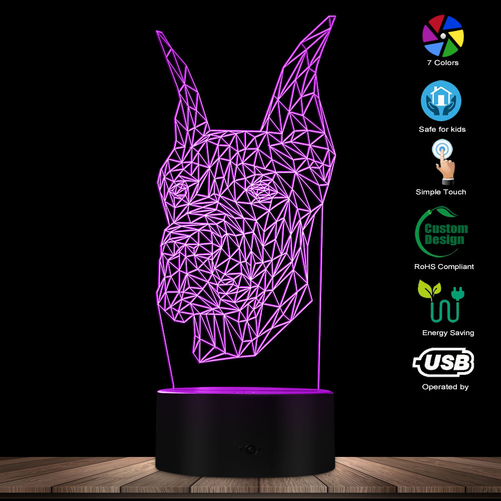 Personalized Doberman Dog Breed LED Night Light Modern Animal Lamp Triangle Illustration Bedroom Table Decor Gift For Dog Lovers