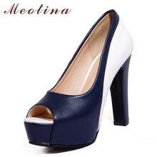 Купить с кэшбэком Meotina High Heels Shoes Women Platform Spike High Heel Office Lady Shoes Mixed Colors Peep Toe Pumps Spring Blue Big Size 33-45
