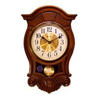 Weilingdun Music Hourly Chiming High Quality Clocks Europe Antique Wooden Mute Quartz Wall Clock