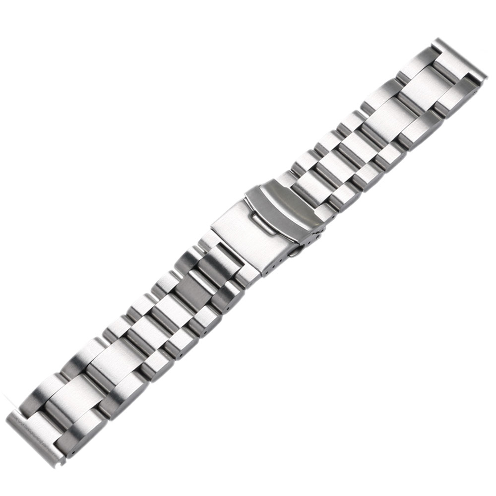 22mm/24mm/26mm Solid Stainless Steel Band Width Wrist Watch Band Strap Double Locking Fold-over Clasp Mens Steel Straps Silver carlywet 22 24mm silver solid screw links replaceme 316l stainless steel wrist watch band bracelet strap with double push clasp