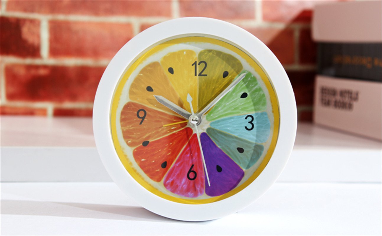 New style Lazy Lemon Fruit Analog Travel Round Accurate Alarm Clock Modern clocks