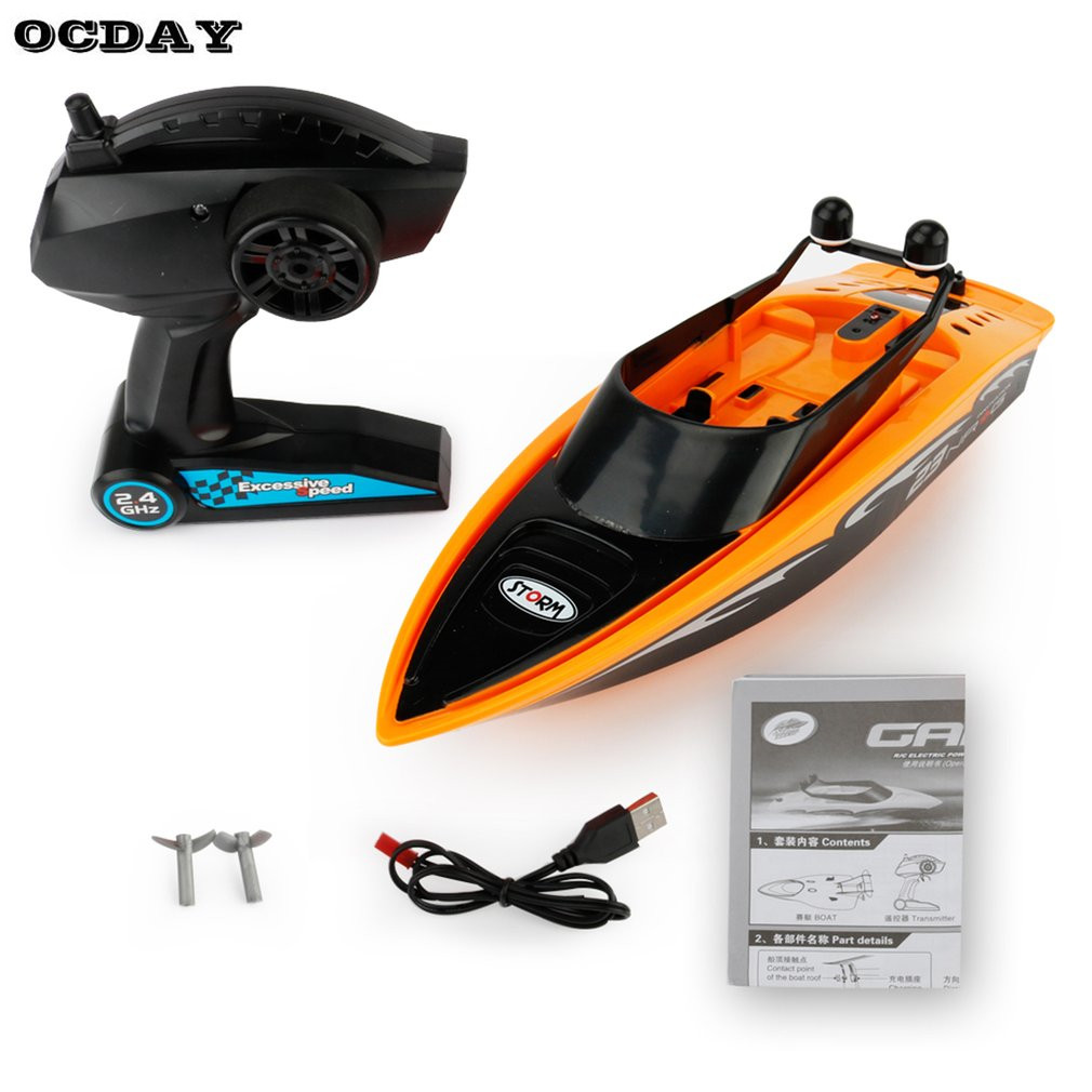 High Speed RC Boat 2.4GHz 4 Channels Brushed Racing Radio Remote Control Boat with USB Rechargeable Electric RC Speedboat Toy lcll rc boat radio remote control twin motor high speed boat rc racing toy gift for kids eu plug