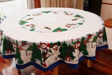 Cute Snowman Christmas Tablecloth Pine Tree Christmas Table Cloths