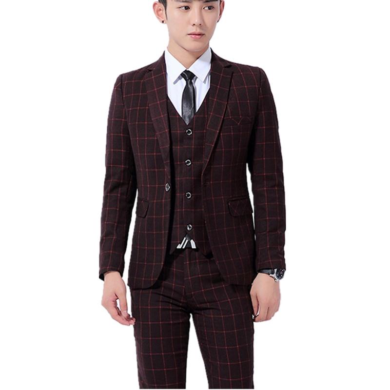2017 새로운 사계절 스타일의 남성 부티크 정장 고품질의 비즈니스 캐주얼 슬림 3 조각 정장 (자켓 조끼와 바지) M - 3XL