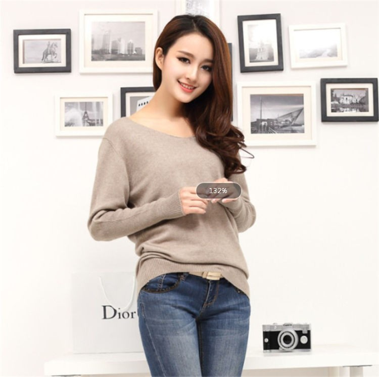 19 Spring autumn cashmere sweaters women fashion sexy v-neck sweater loose 100% wool sweater batwing sleeve plus size pullover 6