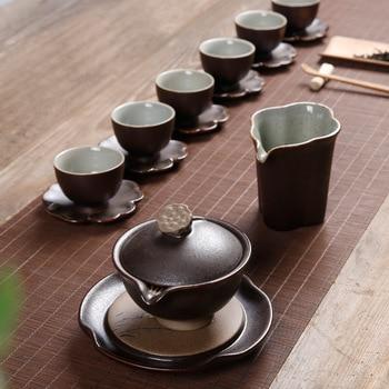 170 мл японский стиль креативная грубая керамика Gaiwan керамический чай Tureen чайный набор кунг-фу аксессуары чайные чаши Ретро Декор