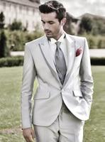 Latest Coat Pant Designs Silver Satin Formal Trim Peaked Lapel Custom Wedding Suits For Men Slim Fit 3 Pieces Blazer Terno 24
