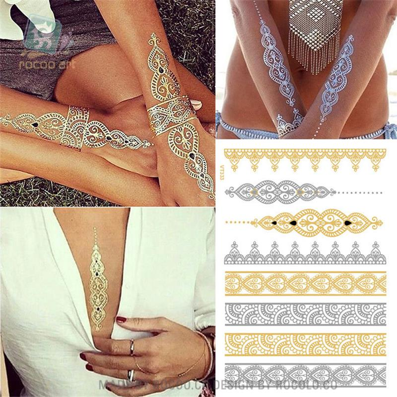Metallic Gold Silver Body Art Temporary Tattoo Sexy Flash Tattoos Sticker For Women Tattoos Paper VT333