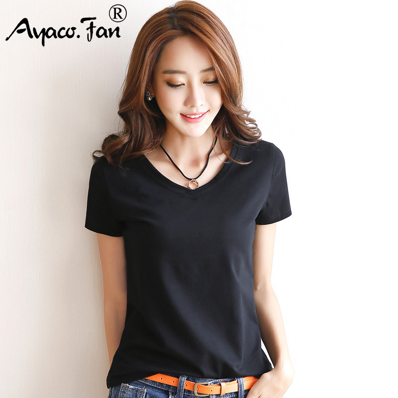 2019 Spring Summer Women Cotton T-shirt Black V-Neck Short Sleeve Female Tee Slim White T-Shirt Casual Solid Lady Tshirt Tops 3