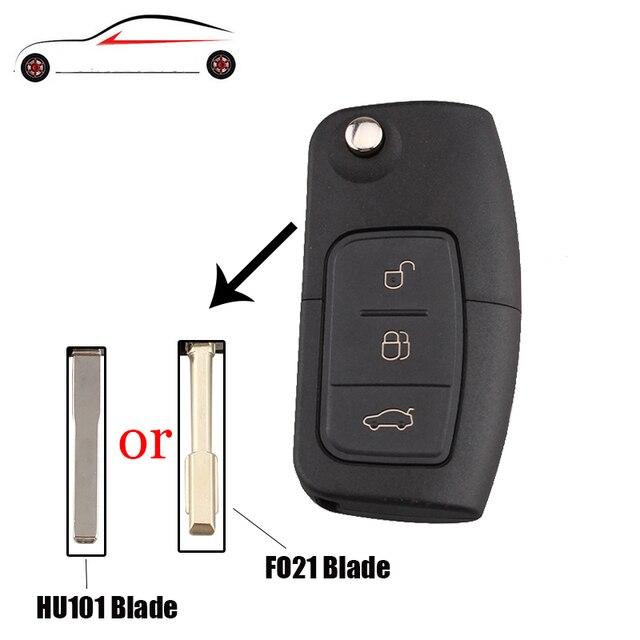 GORBIN 3 botones Flip plegable sin cortar carcasa de llave en blanco para Ford Focus Fiesta C Max Ka HU101/FO21 hoja opcional
