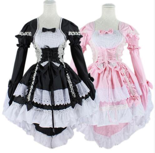 Gothic Lolita Vestido Dulce de Las Mujeres Maid Cosplay Anime Halloween Party Bowknot Vestidos de Bola de La Vendimia
