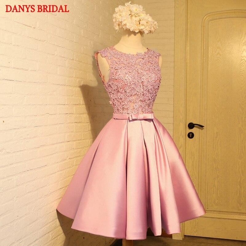 Pink Short Lace Homecoming Dresses Party Prom Dresses Junior Cute 8th Grade Graduation Formal Dresses mezuniyet elbiseleri