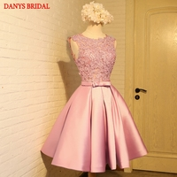 Pink Short Lace Homecoming Dresses Party Prom Dresses Junior Cute 8th Grade Graduation Formal Dresses mezuniyet elbiseleri
