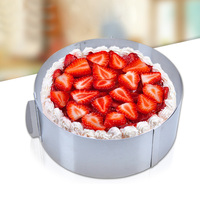 Retractable Stainless Steel Circle Mousse Ring Mould Baking Tool Set Cake Mold Size Adjustable Bakeware J2Y