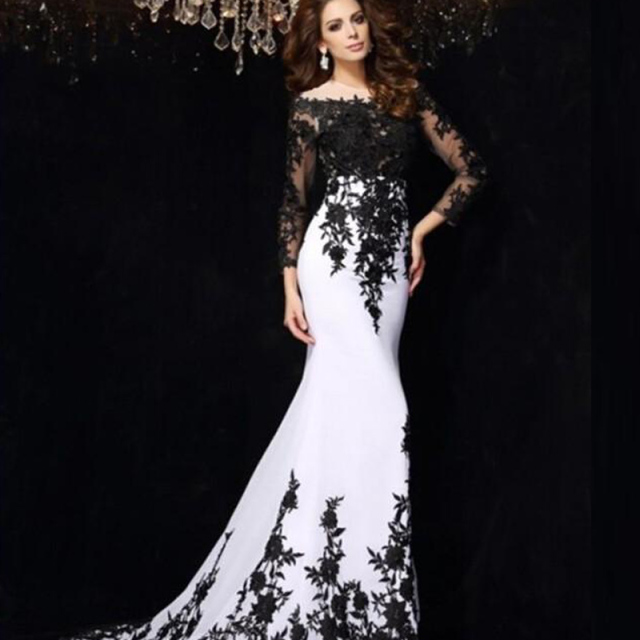 d8225a9ef6430 Saudi Arabia White Chiffon Black Lace Women Lady Long Gown Clothes vestidos  Full Sleeves Mermaid Formal Evening Prom Dresses