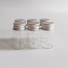 цена на 50pcs/lot 7ml Aluminum cap glass bottle 22*40mm Sliver Screw cap Sealed Small Clear Candy glass vials wish bottle Crafts