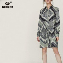 ROHOPO Long Sleeve Vintage Straight Dress Single Breast Buttons Retro Classical Art Female Dresses #AZ9137