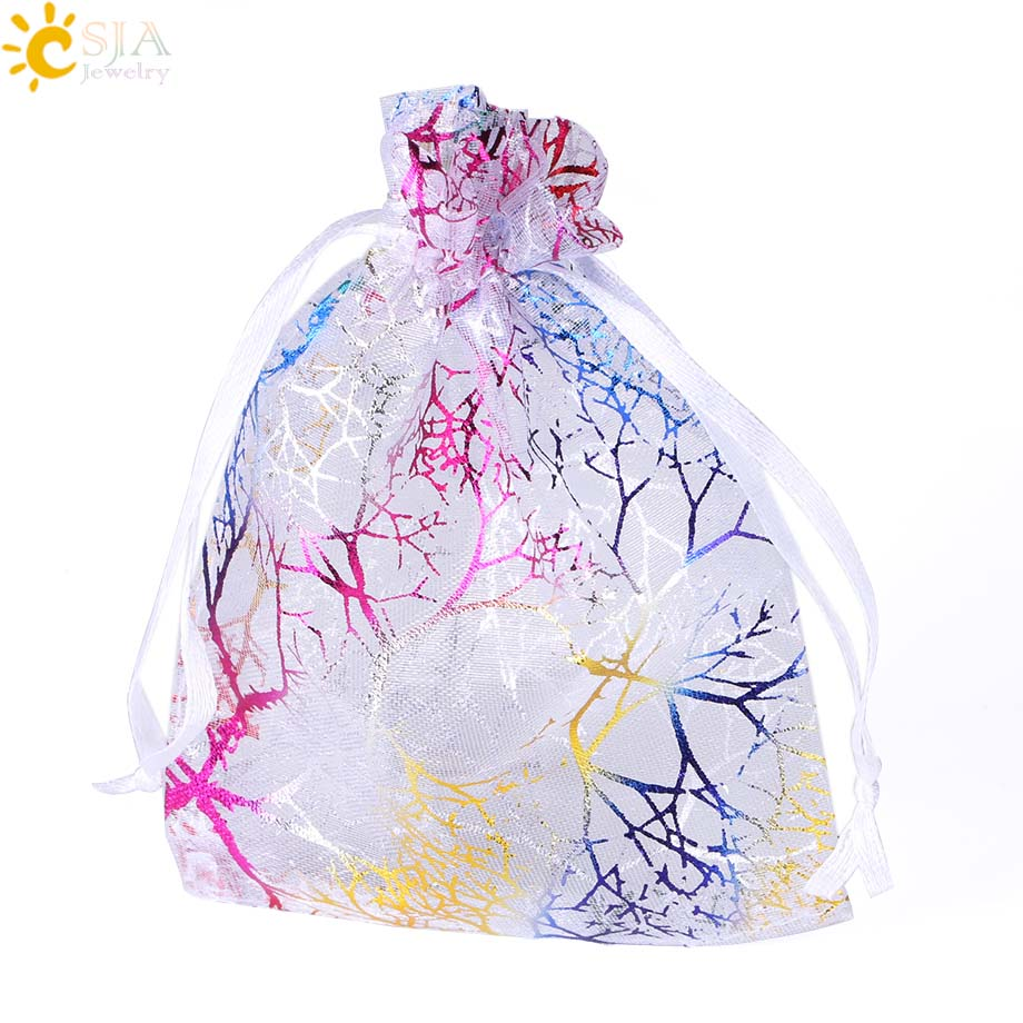 CSJA 10Pcs 12x9cm Colorful Organza Bag Decoration Drawable Gift Pouches Jewelry Packaging Bags Wedding Party Gifts Pouch F478