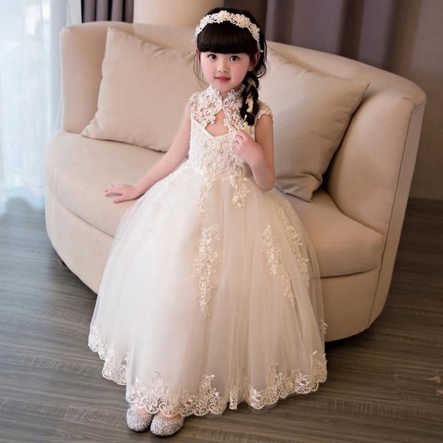 Elegant Girls Sequin Wedding Dress White Lace High Collar Party ...