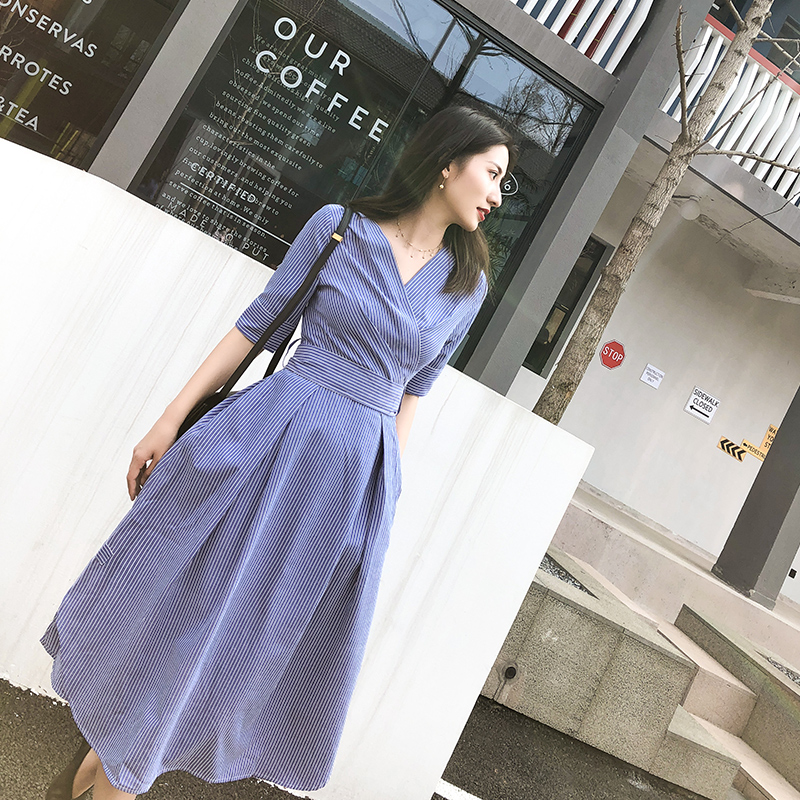 Lachicer Korean Women Midi Dress Blue Striped Bow Belt Half Sleeve New Summer 2019 Elegant Maxi