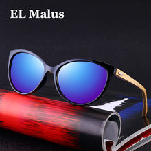 3dc534c7c0 [EL Malus] UV400 gato ojo marco gafas de sol de madera mujeres mujer gris  lente azul espejo Retro marca diseñador de madera gafa.