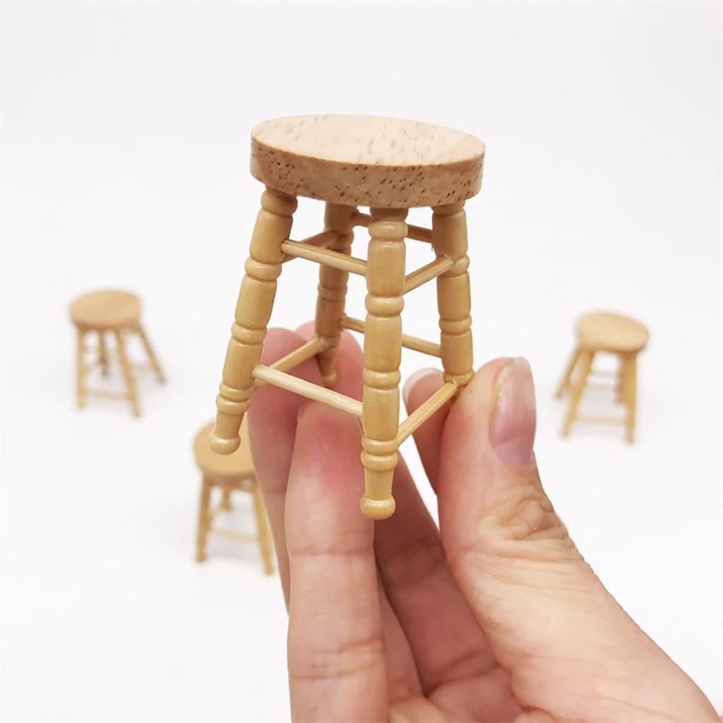 Betrouwbare 1/12 Mini Poppenhuis Meubels Miniatuur Hoge Kruk Houten Kleur Woonkamer Speelgoed Kids Huis Miniatuur Meubels Accessoire L425 Mooie Glans